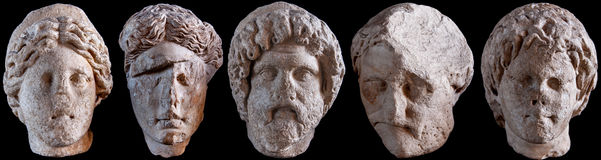 Roman Statue Heads Stock Photography