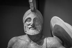 Roman statue of warrior in helmet.  Royalty Free Stock Image