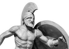 Roman statue of warrior in helmet.  Stock Images