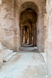 Roman Stone Arches (2). Archways inside Roman Amphitheater in Tunisia Royalty Free Stock Photography