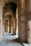 Roman Stone Arches (3). Archways inside Roman Amphitheater in Tunisia Stock Images