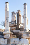 Roman stone pillars and statue and altar ruins room in ephesus A Royalty Free Stock Photos