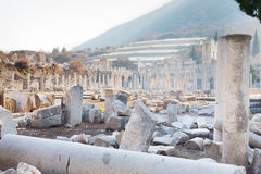 Roman stone pillars and terraced hosues ruins from agora in ephe Stock Image