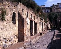 Roman street, Herculaneum, Italy. Royalty Free Stock Photo