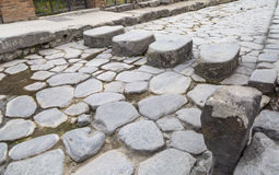 Roman Street in Pompeii Stock Photos