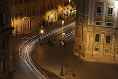 Roman Streets at night. Roman Street with Cars at night Stock Photography