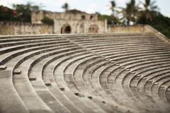 Roman-styled amphitheater. Tilt-shift photography. Historical Royalty Free Stock Photo