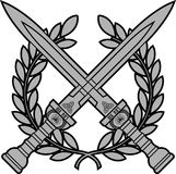 Roman swords with laurel wreath. Vector illustration stock illustration