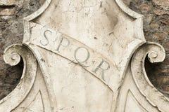 Roman symbol SPQR. Rome, Italy. Roman symbol SPQR, Italian architecture detail Royalty Free Stock Photography