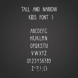 Roman tall& narrow alphabet. Vector roman tall& narrow hand drawn alphabet Royalty Free Stock Photo