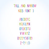 Roman tall& narrow alphabet. Vector roman tall& narrow hand drawn alphabet Stock Photos