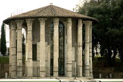 Roman Temple. Temple of Hercule demigod of victory and commercial enterprise, second century construction, located near the Tiber in Rome, Italy stock photos