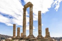 Roman Temple av Hercules i den Amman citadellen, Jordanien Arkivfoto