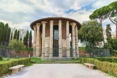 Roman Temple av Hercules Victor (Hercules vinnaren eller Hercules Olivarius) royaltyfri fotografi