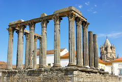 Roman temple and cathedral tower. royalty free stock photos
