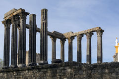 Roman Temple in the city of Evora in Portugal. Stock Photos