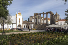 Roman Temple in the city of Evora in Portugal Royalty Free Stock Image