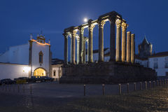 Roman Temple in the city of Evora in Portugal Royalty Free Stock Photos