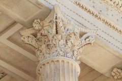 Roman Temple Details in Nimes, Provence, France Stock Image