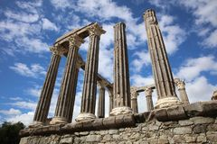 Roman Temple of Diana in Evora. Portugal Stock Photography