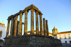 Roman temple of Diana at sunset, Evora, Portugal Stock Photo