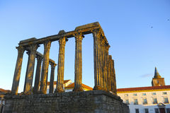 Roman temple of Diana at sunset, Evora, Portugal Stock Images