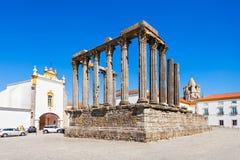 Roman Temple Evora arkivbilder