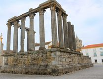 Roman Temple in Evora, Portugal Stock Photography