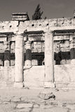 And the roman temple history pamukkale    old construction in as Stock Photography