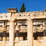 And the roman temple history pamukkale    old construction in as Royalty Free Stock Image