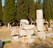 And the roman temple history pamukkale    old construction in as Royalty Free Stock Images