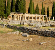 And the roman temple history pamukkale    old construction in as Stock Photo