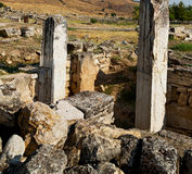 And the roman temple history pamukkale    old construction in as Stock Image