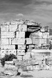 And the roman temple history pamukkale    old construction Royalty Free Stock Photos