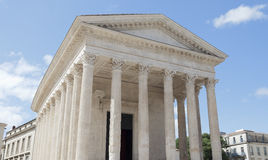 Roman temple Maison Carree in city of Nimes in southern France Stock Image