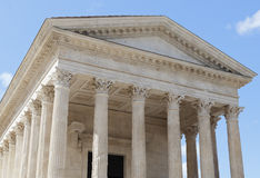Roman temple Maison Carree in city of Nimes in southern France Royalty Free Stock Photography