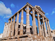 Roman temple in Merida side Stock Image