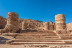 Roman temple in nabatean city of  petra jordan Stock Photo