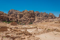 Roman temple in nabatean city of  petra jordan Stock Photos