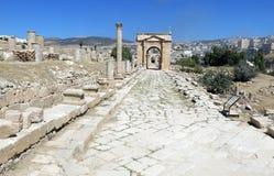 Roman Temple nella città di Jerash Immagini Stock