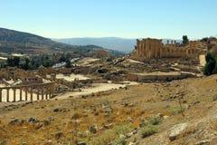 Roman Temple nella città di Jerash Fotografia Stock