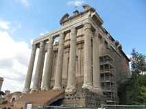 Roman temple. A nice Roman temple in a part a scaffolding Stock Image