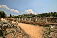 Roman Temple på akropolen, Aten, Grekland arkivbild