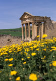 Roman temple- Tunisia. Temple of Caelestis in the UNESCO World Heritage ruined Roman capitol of Dougga- Kalled Valley, Tunisia Stock Images