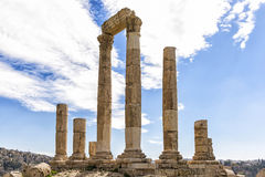 Roman Temple van Hercules in Amman Citadel, Jordanië Stock Foto