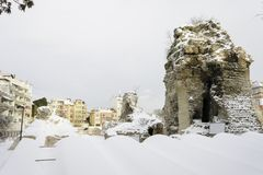 Roman term covered with fresh snow in Varna, Bulgaria. Roman term covered with fresh snow in Varna, Bulgaria Royalty Free Stock Photography