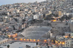 Roman theater. In Amman after the sunset Royalty Free Stock Photos