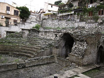 Roman Theater. The old Roman Theater in Taormina Italy Stock Images