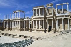 Roman theater. In Merida, the theater, today, is used for theatrical performances, Merida, Badajoz, Extremadura, Spain Stock Photography