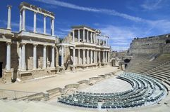 Roman theater. In Merida, the theater, today, is used for theatrical performances, Merida, Badajoz, Extremadura, Spain Stock Image